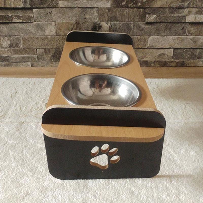 Siyah Kayın Desenli Ahşap İkili Büyük Kedi Köpek Mama ve Su Kabı