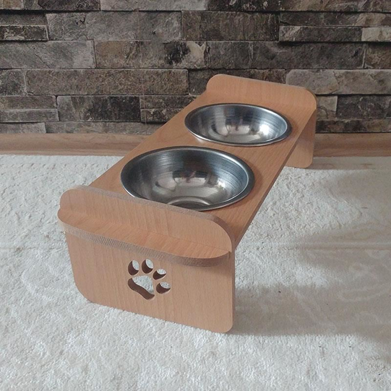 Kayın Desenli Ahşap İkili Büyük Kedi Köpek Mama ve Su Kabı