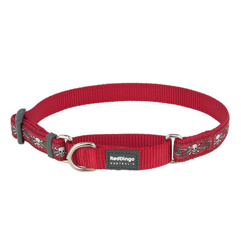 Reddingo Kurukafa Desenli Kırmızı Köpek Boyun Eğitim Tasması 12 Mm