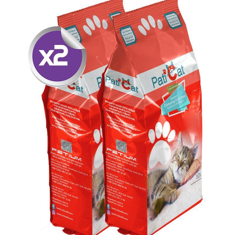 PatiCat Natural Parfümsüz Doğal İnce Kedi Kumu 10 Lt x2