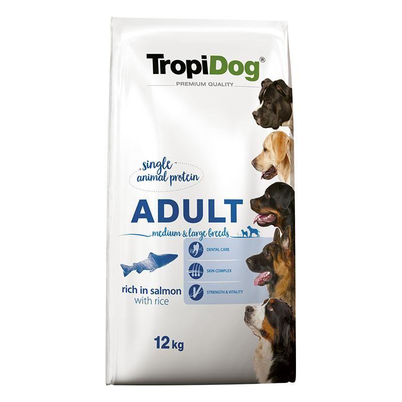 TropiDog Somonlu Yetişkin Köpek Maması Medium Large 12 kg