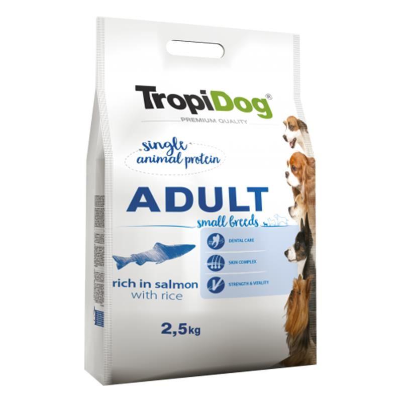 TropiDog Somonlu ve Pirinçli Küçük Irk Yetişkin Köpek Maması 2,5 Kg