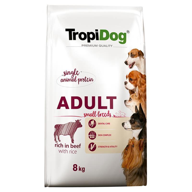 TropiDog Sığıretli ve Pirinçli Küçük Irk Yetişkin Köpek Maması 8 Kg