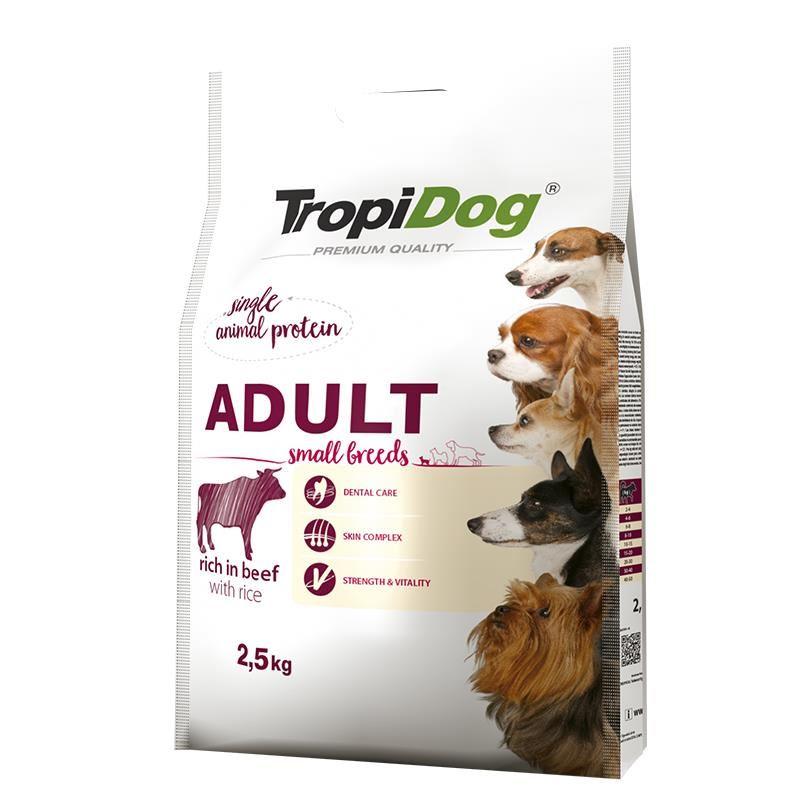 TropiDog Sığıretli ve Pirinçli Küçük Irk Yetişkin Köpek Maması 2,5 Kg