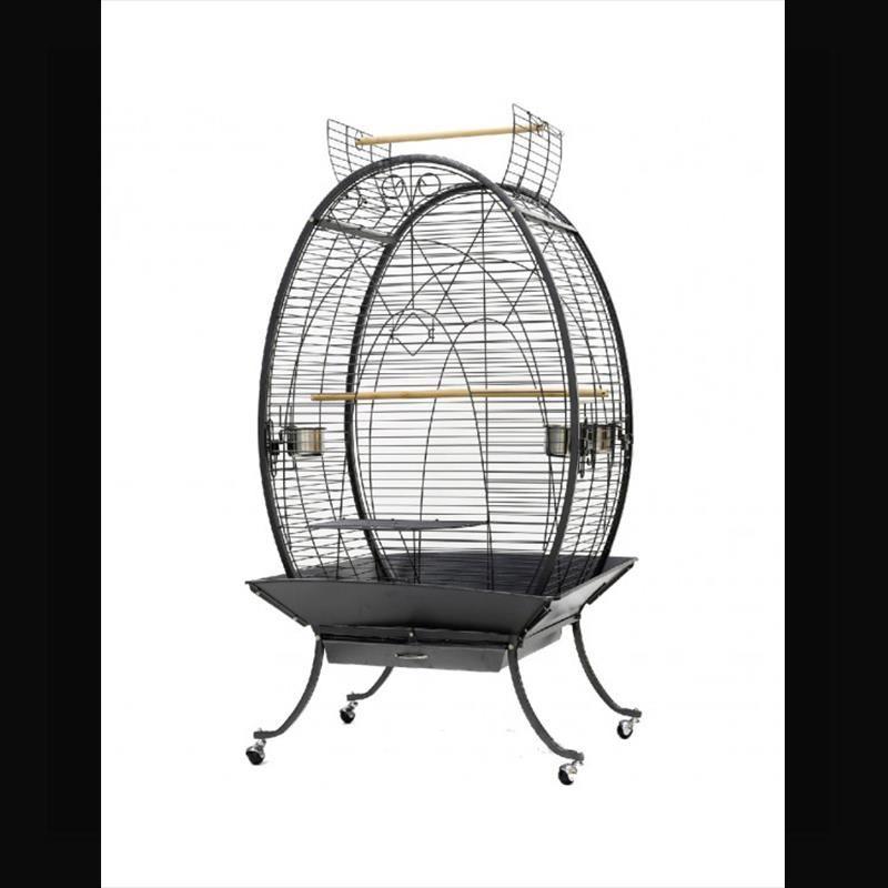 Dayang A28 Oval Papağan Kafesi Ayaklı Siyah 89x60x159 Cm