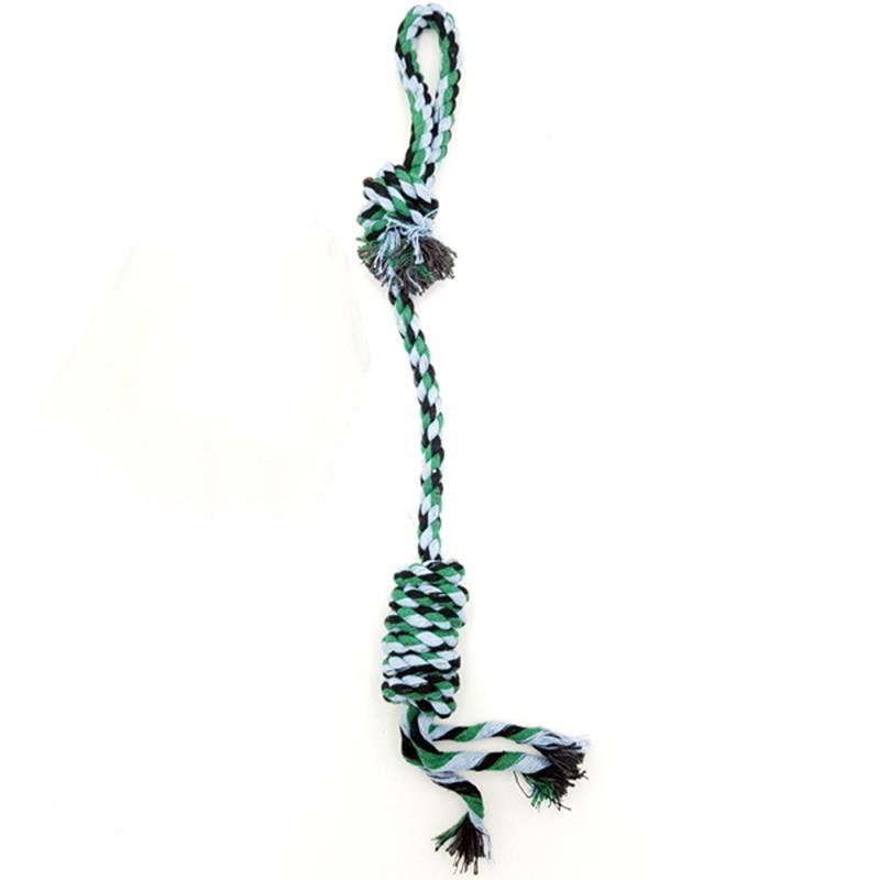 Eurodog Tek Düğümlü Rulo Diş İpi Yeşil Beyaz Renkli Köpek Oyuncağı 40 Cm