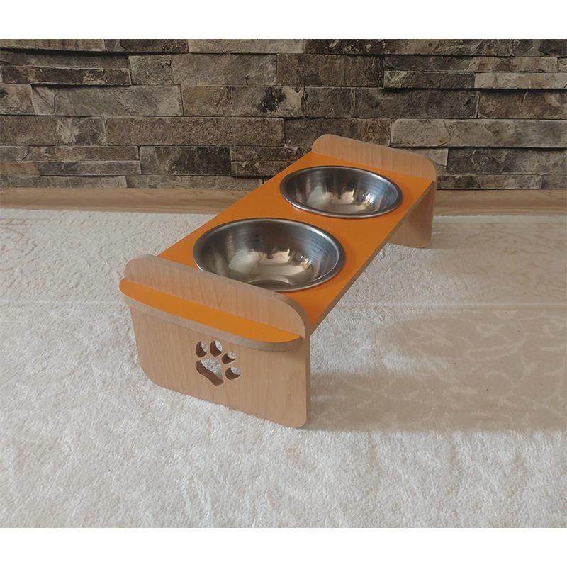 Kayın Turuncu Desenli Ahşap İkili Kedi Köpek Mama ve Su Kabı