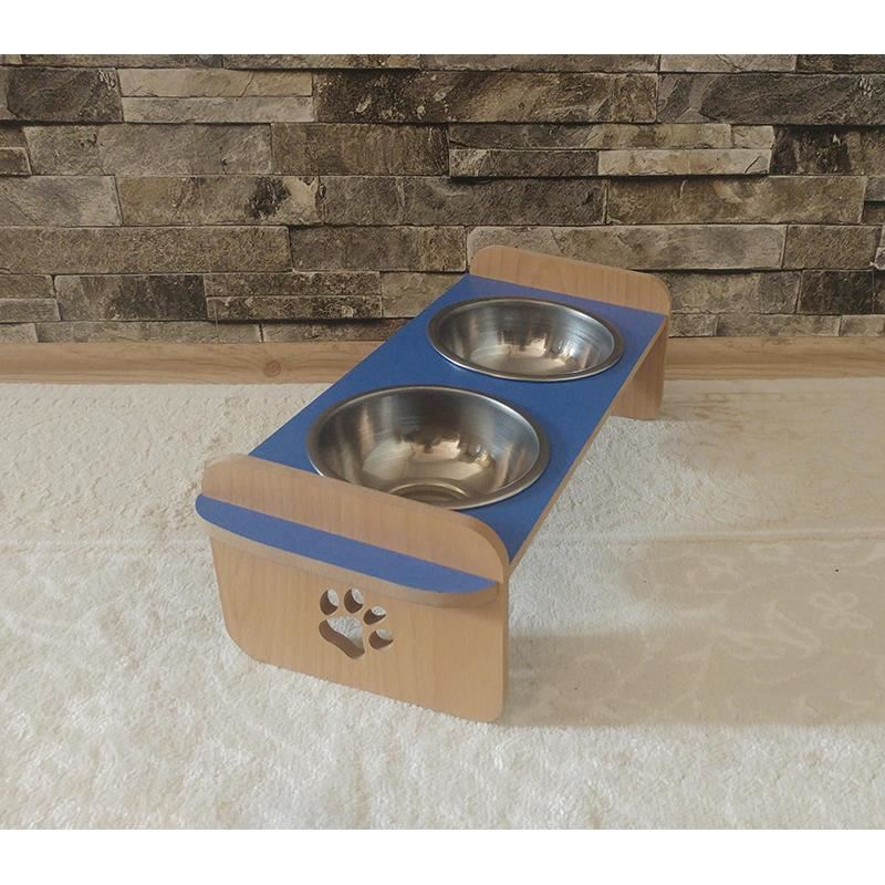 Kayın Mavi Desenli Ahşap İkili Büyük Kedi Köpek Mama ve Su Kabı