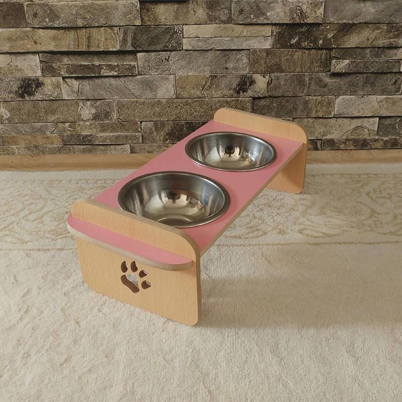 Kayın Pembe Desenli Ahşap İkili Büyük Kedi Köpek Mama ve Su Kabı