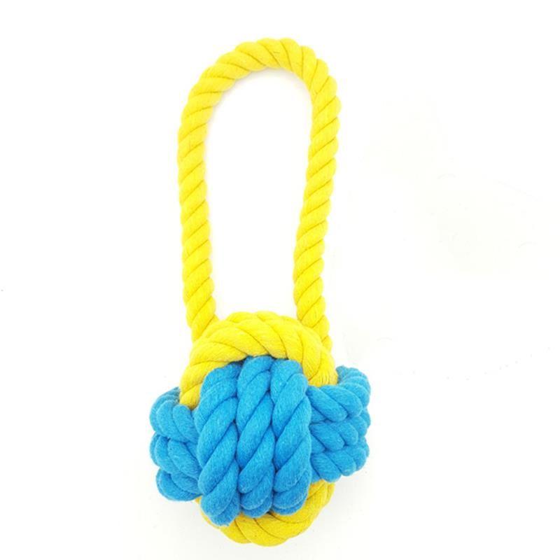 Eurodog Diş İpi Sarı Mavi İp Örme Topuz Köpek Oyuncağı 18 Cm