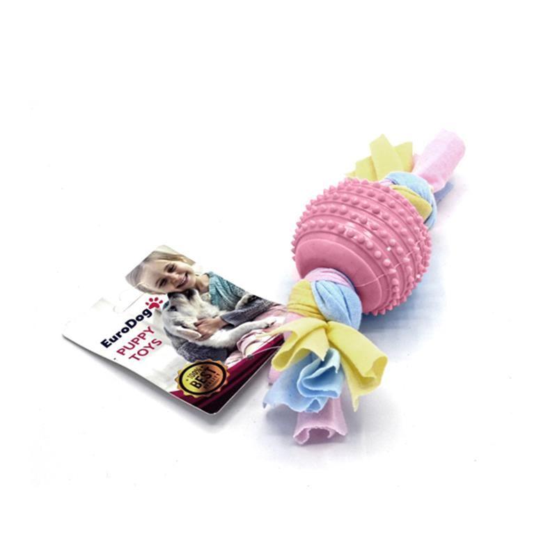 EuroDog Puppy Toys Tırtıklı Top Diş Kaşıma Yavru Köpek Oyuncağı Pembe 17 Cm