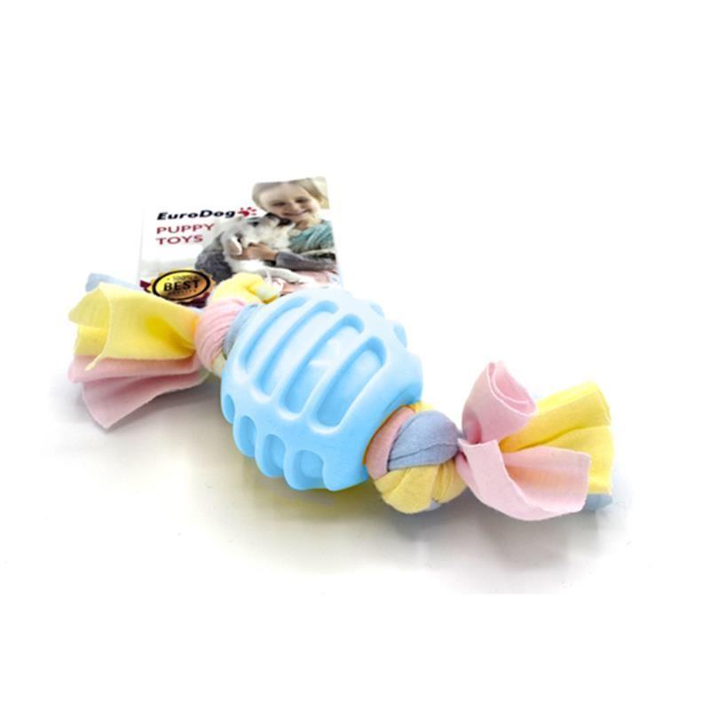 EuroDog Puppy Toys Diş İpli Kauçuk Top Yavru Köpek Oyuncağı Mavi 17 Cm