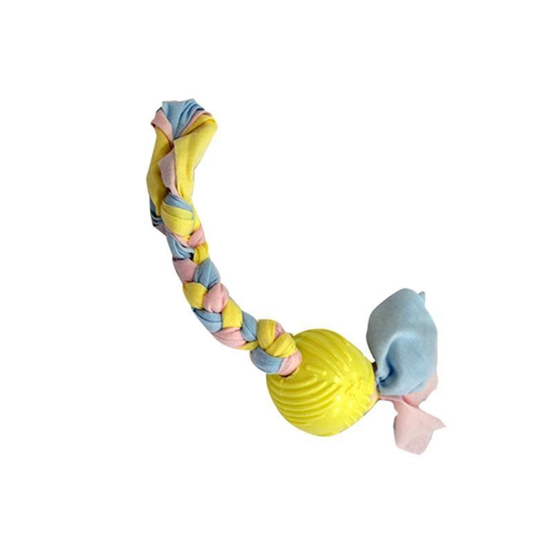 EuroDog Puppy Toys Diş İpli Kauçuk Top Yavru Köpek Oyuncağı Sarı 36 Cm