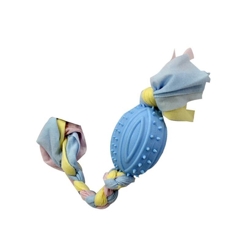 EuroDog Puppy Toys Diş İpli Kauçuk Rugby Topu Yavru Köpek Oyuncağı Mavi 35 cm