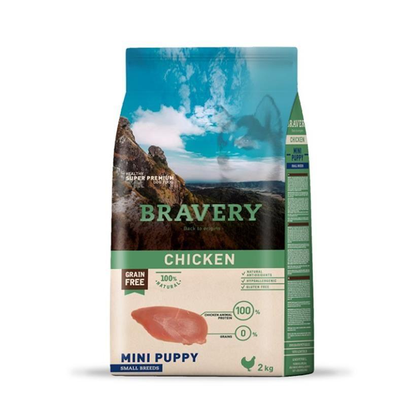 Bravery Puppy Mini Tavuklu Tahılsız Yavru Köpek Maması 2 Kg