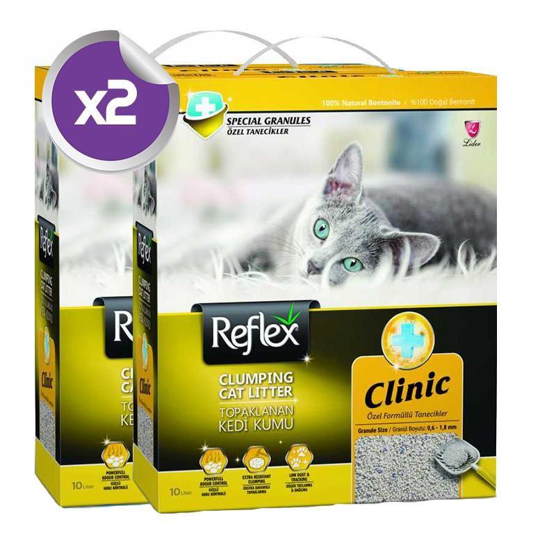 Reflex Klinik Özel Tanecik Süper Hızlı Topaklanan Kedi Kumu 10 Lt x2