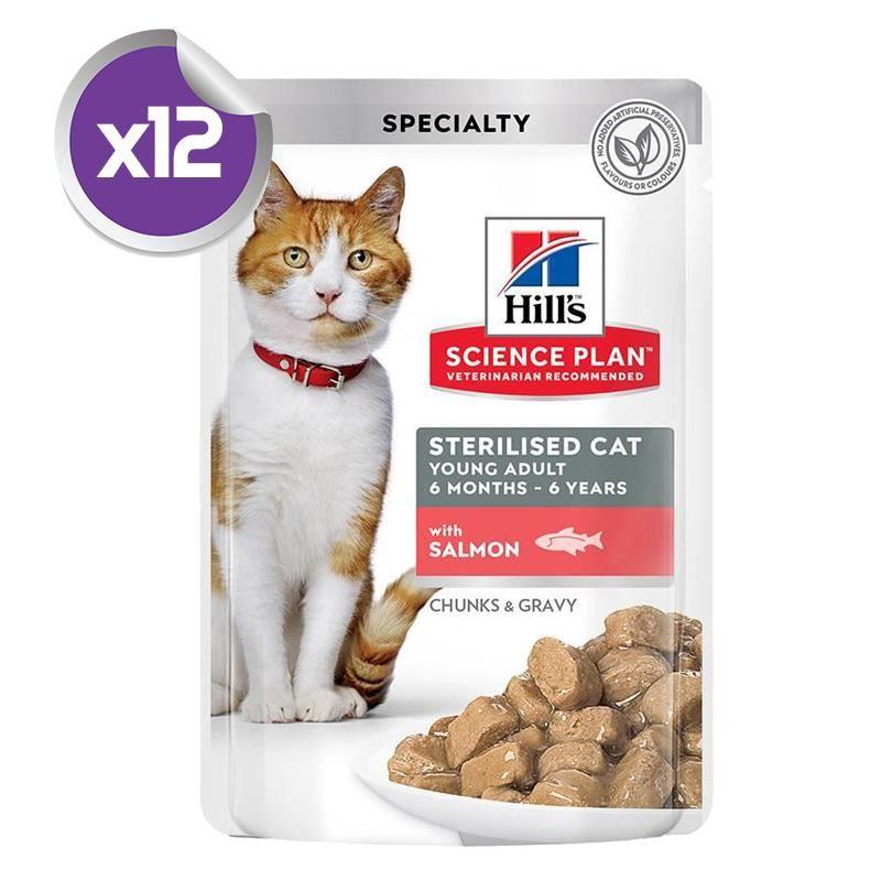 Hills Gravy Somonlu Kısırlaştırılmış Kedi Konservesi 85 Gr x12