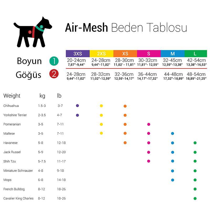 TailPetz Air Mesh Köpek Göğüs Tasması Siyah 3X Small