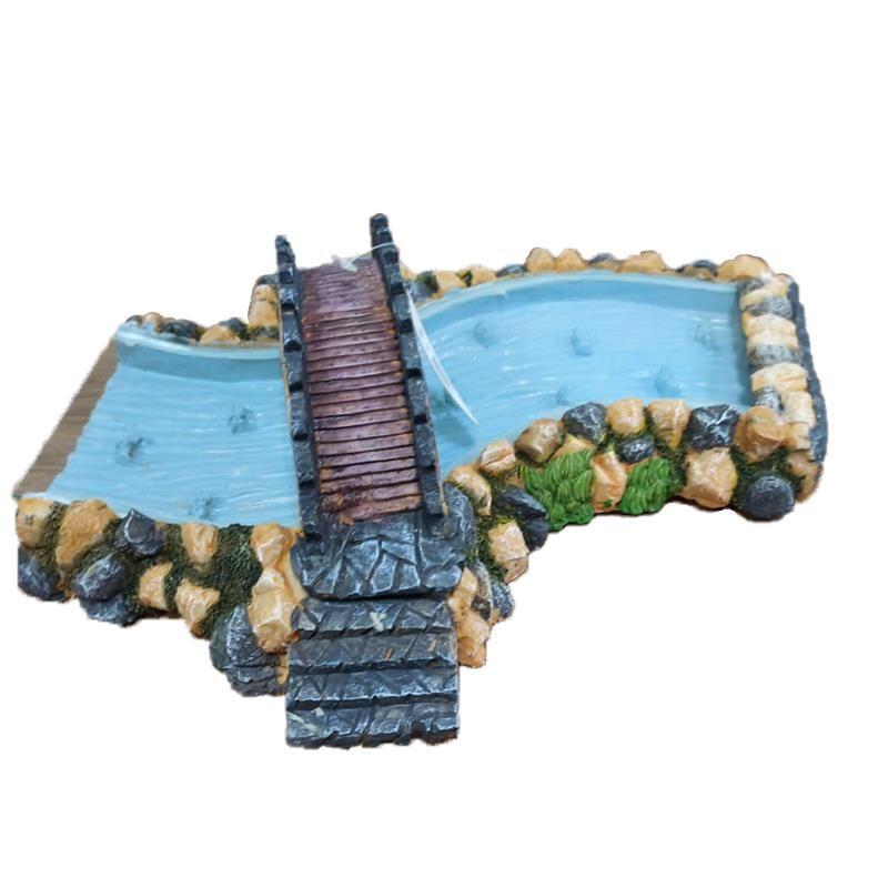 Chicos Akvaryum Dekoru Asma Köprülü Nehir Hava taşlı 35x30x13 Cm