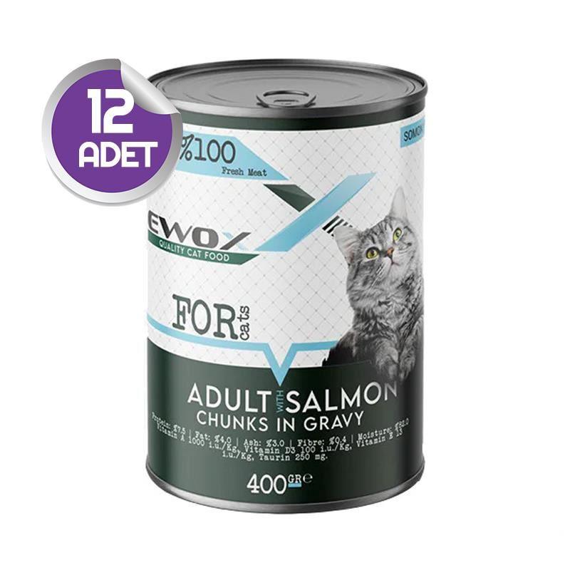 Ewox Somonlu Parça Etli Yetişkin Kedi Konservesi 400 Gr x12