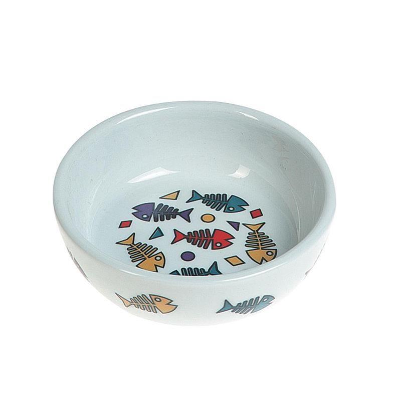Karlie Balık Desenli Kedi Köpek Porselen Mama Kabı 300 Ml