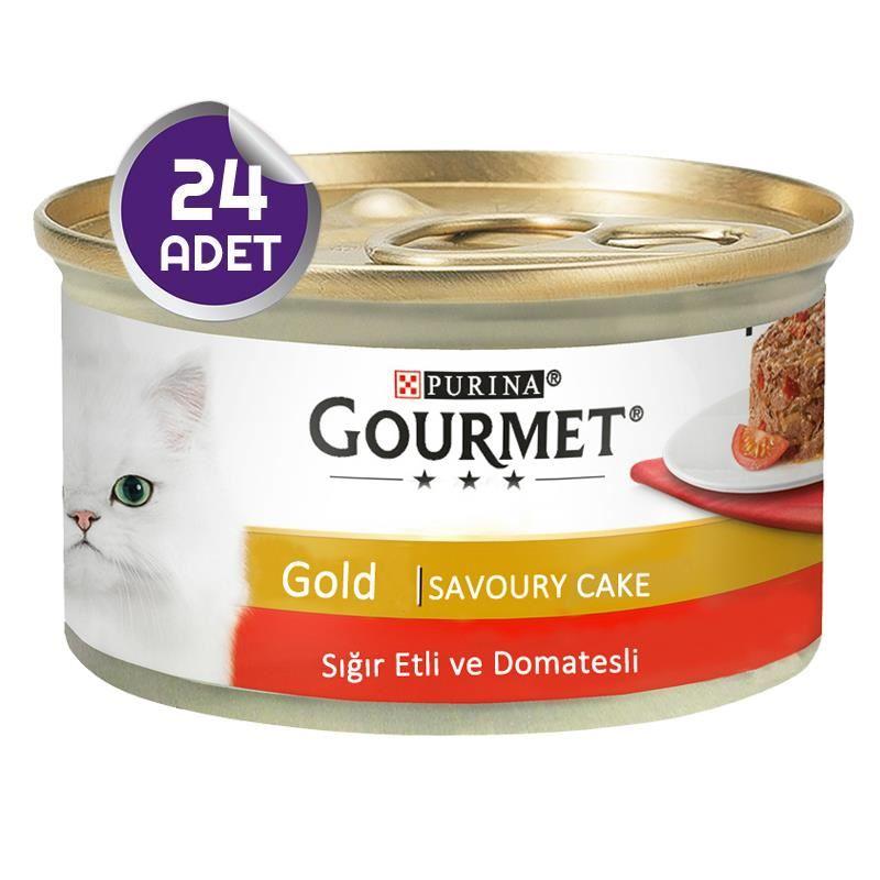 Gourmet Gold Savoury Sığır Etli Domatesli Yetişkin Kedi Konservesi 85 Gr x24