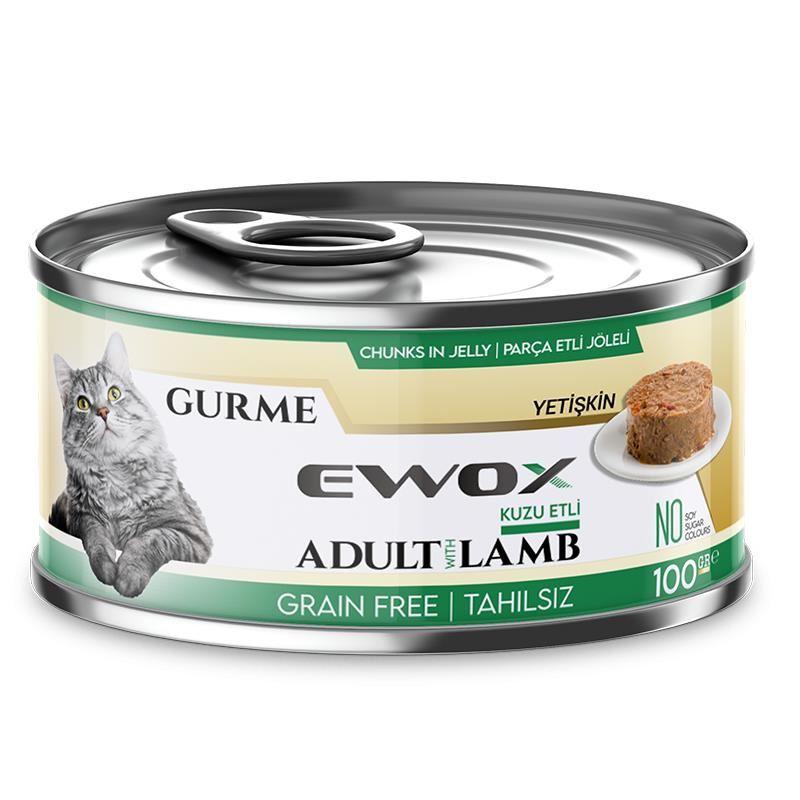 Ewox Gurme Kuzu Tahılsız Kedi Konservesi 100 Gr
