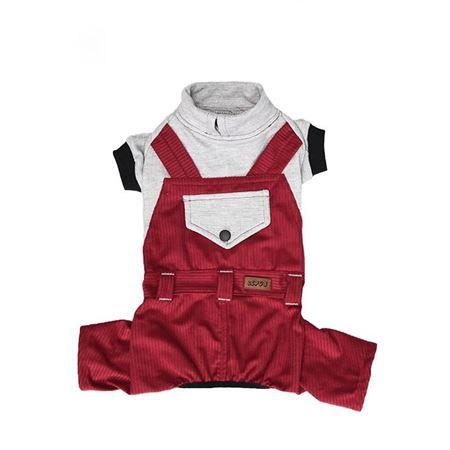 Lepus Küçük Irk Köpek Bahçıvan Tulum Elbise Bordo XLarge