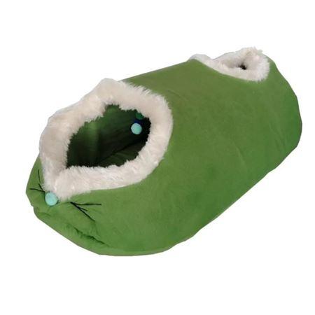 Küçük Irk Köpek ve Kedi Tay Tüyü Oyun Tüneli Yatağı 30 x 75 cm Yeşil