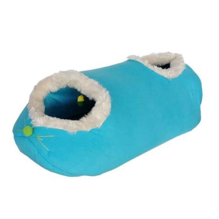 Küçük Irk Köpek ve Kedi Tay Tüyü Oyun Tüneli Yatağı 30 x 75 cm Turkuaz