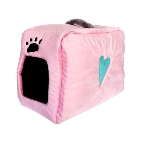 Küçük Irk Köpek ve Kedi Yatağı Kalpli Çanta Model 35*55 Cm Pembe