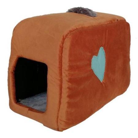 Küçük Irk Köpek ve Kedi Yatağı Kalpli Çanta Model 35*55 Cm Kahverengi