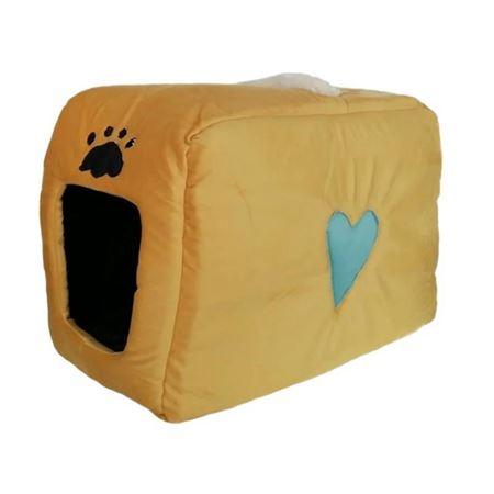 Küçük Irk Köpek ve Kedi Yatağı Kalpli Çanta Model 35*55 Cm Sarı