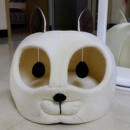 Kedi Kafası Şekilli Kedi Yatağı 45x50x50 Cm Bej