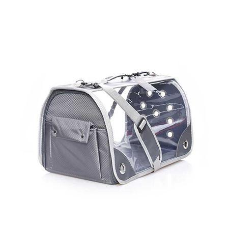 Lepus Şeffaf Fly Bag Kedi Köpek Taşıma Çantası Gri Large