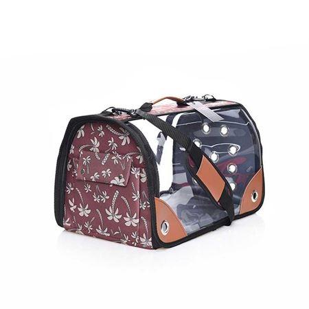 Lepus Şeffaf Fly Bag Kedi Köpek Taşıma Çantası Palmiye Kahve Large