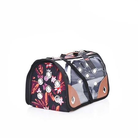 Lepus Şeffaf Fly Bag Kedi Köpek Taşıma Çantası Çiçek Siyah Medium