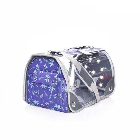 Lepus Şeffaf Fly Bag Kedi Köpek Taşıma Çantası Mor Palmiye Large