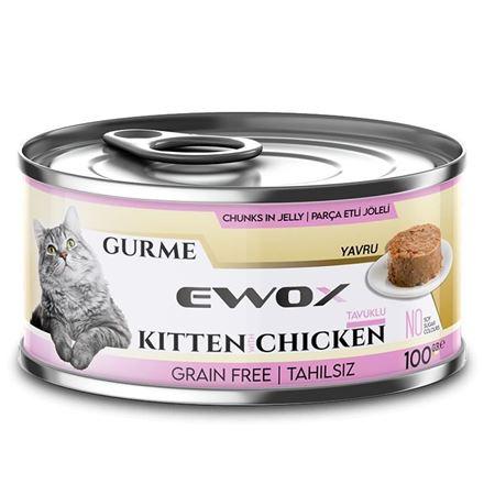 Ewox Gurme Tavuklu Tahılsız Yavru Kedi Konservesi 100 Gr