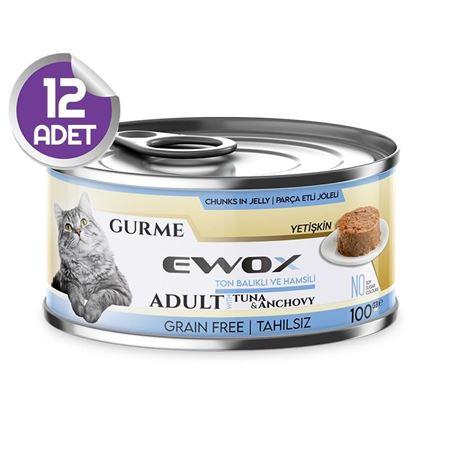 Ewox Gurme Ton Balıklı Ve Hamsili Tahılsız Kedi Konservesi 100 Gr x12