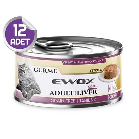 Ewox Gurme Ciğerli Tahılsız Kedi Konservesi 100 Gr x12